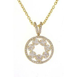 Cluster Diamond Round Pendant Jewelry Yellow Gold